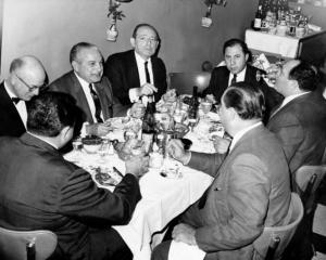 The Cosa Nostra men (l. to r.) Attorney Jack Wasserman, Carlos Marcello, Santo Trafficante, Frank Ragano, Attorney Anthony Carollo, Frank Cagliano and John Marcello at La Stella Restaurant after appearing before the Queens Grand Jury