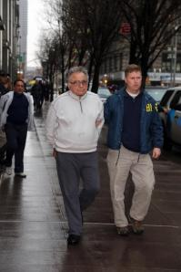 Carmine 'Papa Smurf' Franco, is on his way to arraignment in Manhattan Federal Court on racketeering charges Jan. 16, stemming from a trash collection ring. A total of 32 suspects were busted in the FBI sting