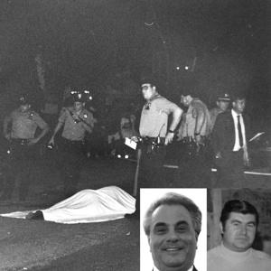 BODY OF WORK: Cops (top) surround the corpse of Edward Garofalo, killed allegedly with the help of Daniel Fama (right) on John Gotti's orders
