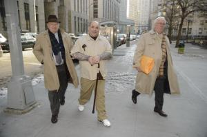 Reputed Bonanno member Luigi Grasso (center) will face accusations from mob triggerman Hector Pagan at trial in February