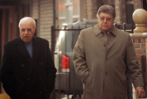 """Bartholomeo """"Bobby Glasses"""" Vernace (left) with Gambino Captain, Louis Mastrangelo. Vernace was sentenced to 30 months after copping a plea to extortion and racketeering charges."""