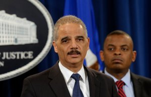 """Toyota """"intentionally concealed information and misled the public """" Eric H. Holder Jr., the attorney general, said on Wednesday. He was accompanied by Anthony Foxx, secretary of transportation"""