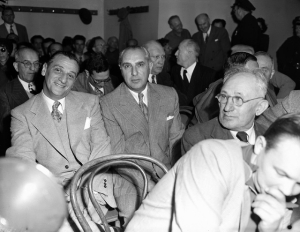Available for questioning by the Kefauver Senate Crime investigating committee in Los Angeles, Calif. Feb. 28, 1951 are Moe Dalitz, left, head of a Cleveland, Cincinnati and Kentucky gambling syndicate and Sam Tucker, northern Kentucky gambler and associate of Dalitz.